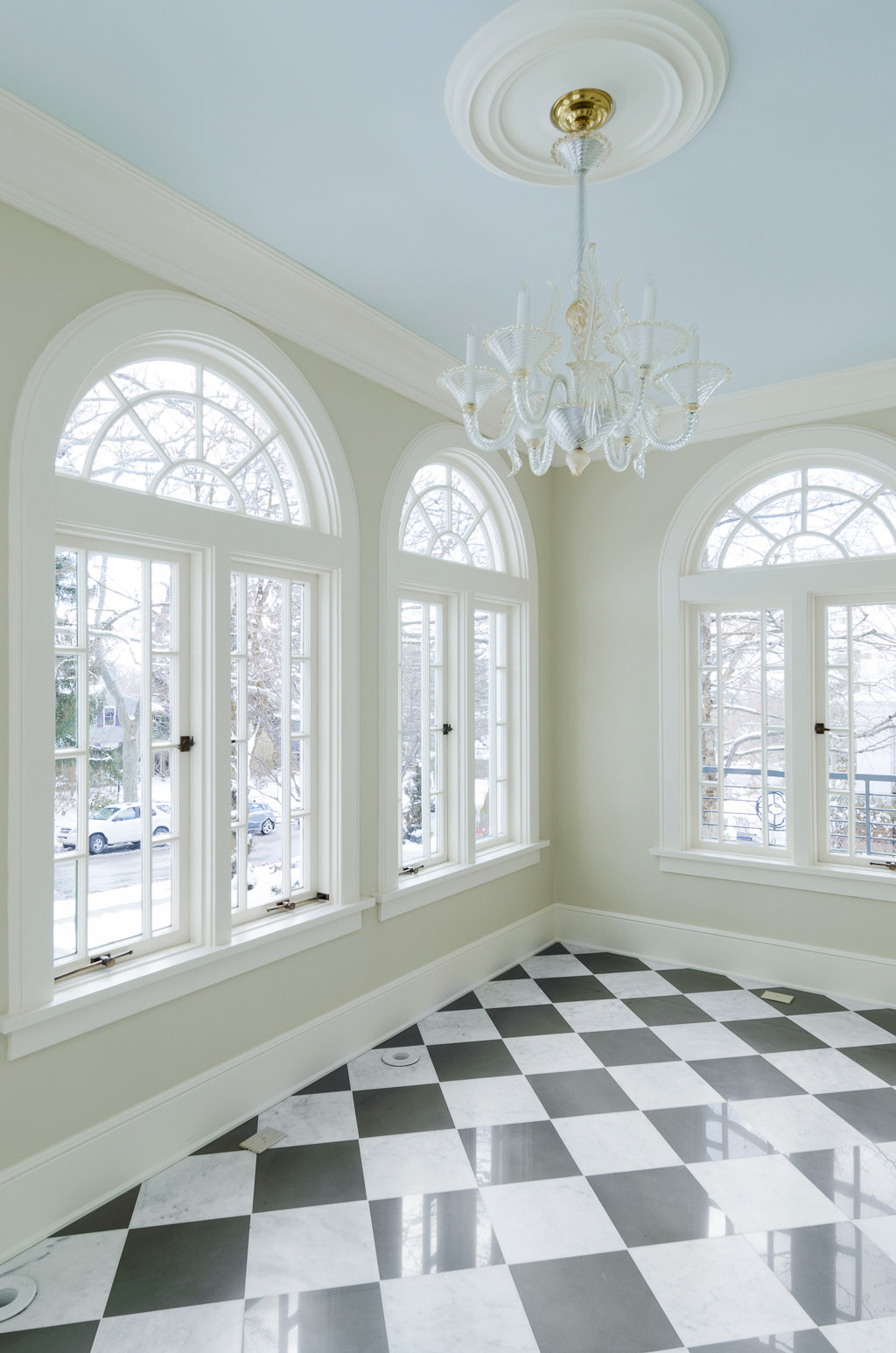 Sunroom with Light Blue Ceiling