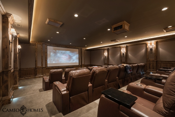 Home Theater. Home built by Cameo Homes Inc. in Utah.